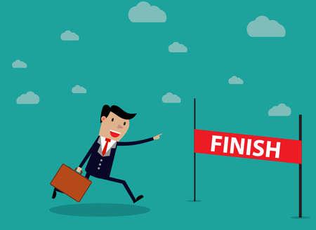 employee satisfaction: Businessman Run Cross Finish Line. vector illustration in flat design on green backgound.