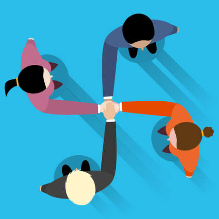 join hands: businessman and woman join hands by touching top of each other. Top view. Vector flat design for business web infographic concept.