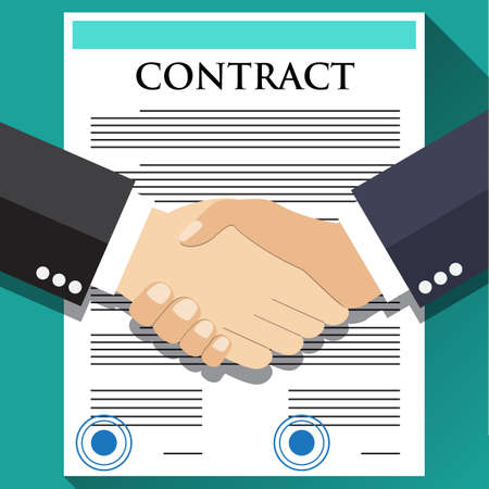 team meeting: Business partner handshake deal contract meeting. Vector flat design for business web infographic concept