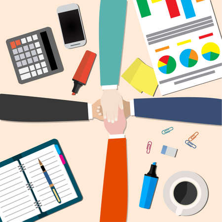 join hands: businessman and woman join hands by touching top of each other sitting at the office table. Top view. Vector flat design for business web infographic concept. Illustration