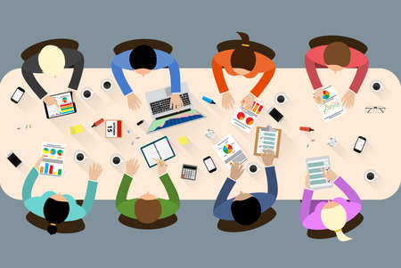 Group of people working, planning, brainstorming idea of company strategy. Office table top view.  Teamwork creative office workspace. Vector flat design for business web infographic concept Stock Illustratie