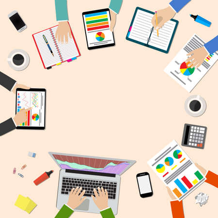 creative planning: Group of people working, planning, brainstorming idea of company strategy. Office table top view.  Teamwork creative office workspace. Vector flat design for business web infographic concept Illustration