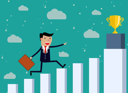 business backgound: Businessman Run Financial Bar Graph Cartoon Business Man Climbing Growth Chart. Concept Business Man Win Price. vector illustration in flat design on green backgound