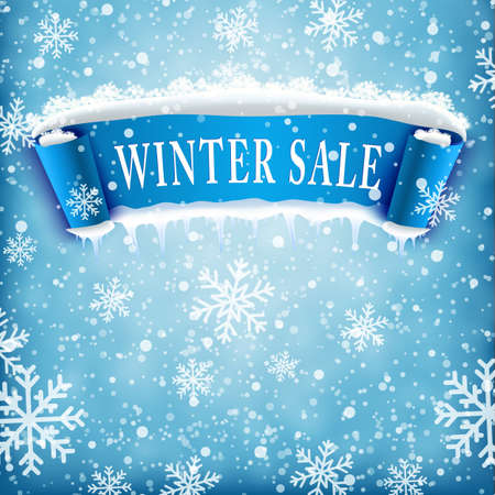 sale shop: Winter sale background with blue realistic ribbon banner and snow. Winter sale. Christmas sale. New year sale. Vector illustration