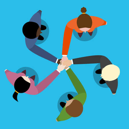 teamwork cartoon: businessman and woman join hands by touching top of each other. Top view. Vector flat design for business web infographic concept.