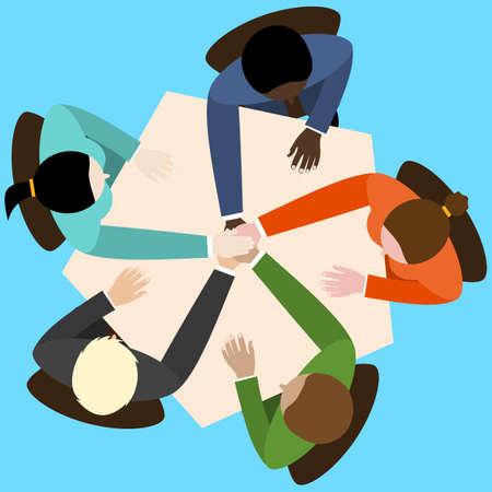 zakenman en vrouw de handen ineen door het aanraken van de top van elkaar zitten op het kantoor tafel. Bovenaanzicht. Vector plat ontwerp voor het bedrijfsleven web infographic concept.