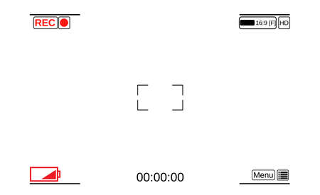 rec: Camera viewfinder. Template focusing screen of the camera. Viewfinder camera recording. Video screen on a white background. vector illustration Illustration