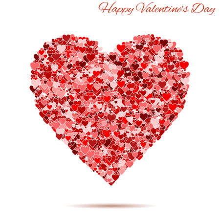 postal card: Happy  Valentines day vintage red heart with hearts. template for greeting and postal card. Vector background illustration