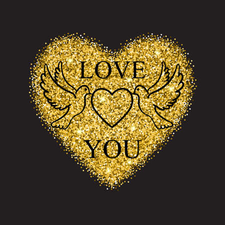 save as: Two doves with a heart as a symbol of romantic love with heart made of gold glitter on the background.Romantic vector illustration. Vector design element for valentines day, save the date, wedding .