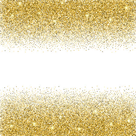 gold banner: Gold glitter background. Gold sparkles on white background. Creative invitation for party, holiday, wedding, birthday. Vector illustration. Glitter seamless texture. Trendy modern vector illustration