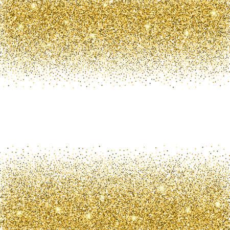 Gold-Glitter Hintergrund. Gold funkelt auf weißem Hintergrund. Kreative Einladung für Party, Urlaub, Hochzeit, Geburtstag. Vektor-Illustration. Glitter nahtlose Textur. Trendy moderne Vektor-Illustration