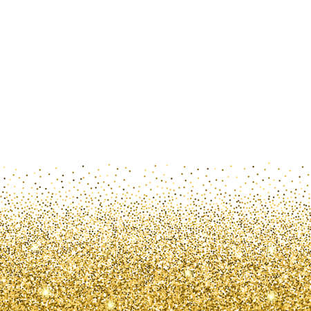Gold glitter background. Gold sparkles on white background. Creative invitation for party, holiday, wedding, birthday. Vector illustration. Glitter seamless texture. Trendy modern vector illustration