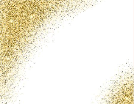 Modèle pour bannière, flyer, gagner la date, fête d'anniversaire ou une autre invitation avec un fond d'or. Or conception de carte de paillettes. illustration vectorielle de modèle de conception.