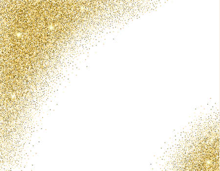 glitter: Template for banner, flyer, save the date, birthday party or other invitation with gold background. Gold glitter card design. vector illustration  design template.