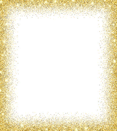 Gold glitter background. Gold sparkles on white background. Creative invitation for party, holiday, wedding, birthday. Trendy modern vector illustration