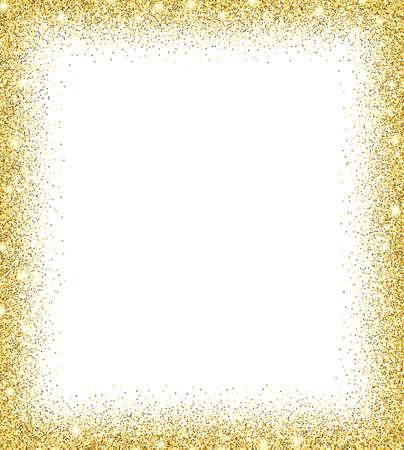 Gold-Glitter Hintergrund. Gold funkelt auf weißem Hintergrund. Kreative Einladung für Party, Urlaub, Hochzeit, Geburtstag. Trendy moderne Vektor-Illustration