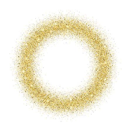 glitter background oro. L'oro scintilla cornice rotonda. Template per i disegni di vacanza, invito, festa, compleanno, matrimonio.