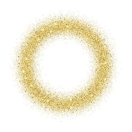 Gold glitter background. Gold sparkle round frame. Template for holiday designs, invitation, party, birthday, wedding. Stock Vector - 50912698