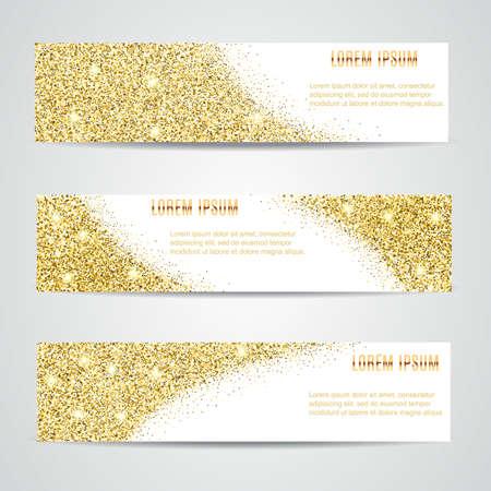 Horizontal Or Banners Set, Design Carte de voeux. La poussière d'or. Nouvel An et de Noël modèle heureux pour la conception, invitation, entreprise, vip, flyer, coupon, certificat, étiquette, web, en-tête.