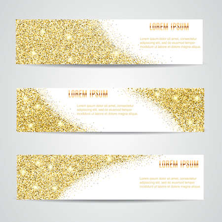 Horizontal Gold Banners Set, Greeting Card Design. Golden Dust. Happy New Year and Christmas template for design, invitation, business, vip, flyer, voucher, certificate, tag, web, header.