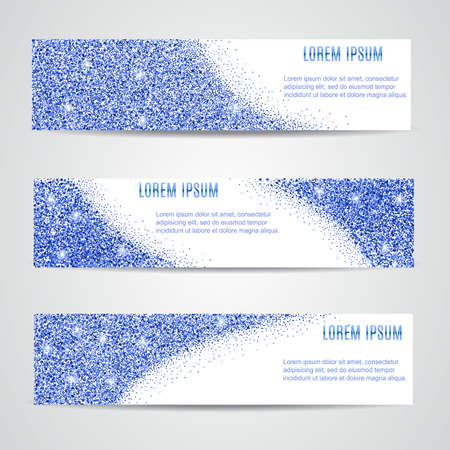 blue star background: Horizontal blue Banners Set, Greeting Card Design. blue Dust. Happy New Year and Christmas template for design, invitation, business, vip, flyer, voucher, certificate, tag, web, header.
