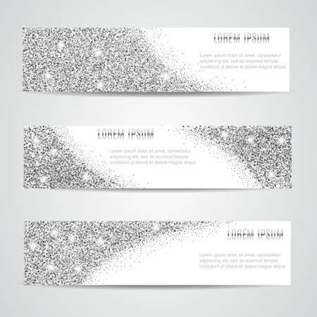 Horizontal silver Banners Set, Greeting Card Design. silver Dust. Happy New Year and Christmas template for design, invitation, business, vip, flyer, voucher, certificate, tag, web, header.