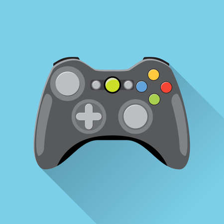 gaming: Video game Controller Icon. wireless grey gamepad. vector illustration in flat design with long shadow on blue background