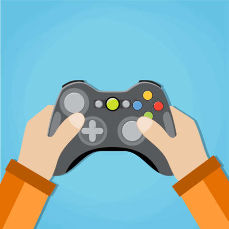 gamepad: Hands holding wireless gamepad. vector illustration in flat design on blue background