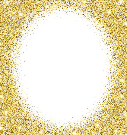 Gold glitter background. Gold sparkle round frame. Template for holiday designs, invitation, party, birthday, wedding.