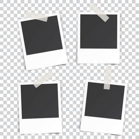 photography frame: four Retro blank photography with a black place for your image in a photo album page. photo frame with shadow Sticked on Duct Tape on a transparent background for your object. Vector illustration Illustration
