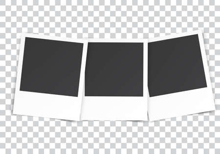 album page: three Retro blank photography with a black place for your image in a photo album page. photo frame with shadow on a transparent background for your object. Vector illustration