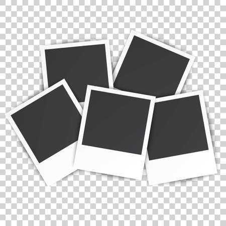 photography frame: five Retro blank photography with a black place for your image in a photo album page. photo frame with shadow on a transparent background for your object. Vector illustration Illustration