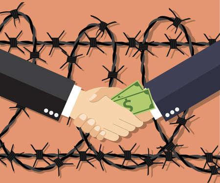 El hombre de negocios de dibujos animados dando un soborno. Ilustración del vector en diseño plano sobre fondo claro con alambre de púas. concepto de lucha contra la corrupción.