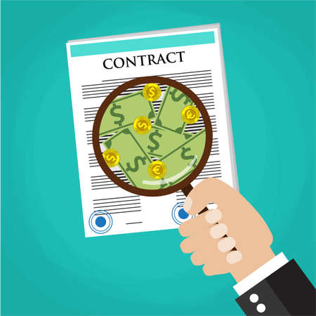 oversee: Cartoon businessman hand checking contract with a magnifying glass on a table before signing and see money. Contract inspection concept. vector illustration in flat design on green background Illustration