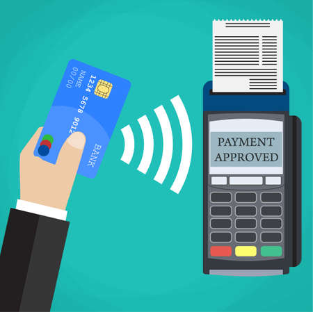 confirms: Pos terminal confirms the payment by debit credit card. Vector illustration in flat design on green background. nfc payments concept Illustration