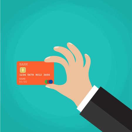 holding credit card: Businessman Hand holding credit card. Vector illustration. Flat design style Illustration