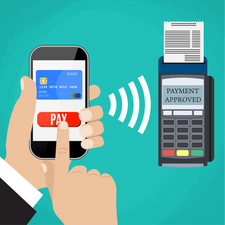 confirms: Pos terminal confirms the payment by smartphone. Vector illustration in flat design on blue background. nfc payments concept