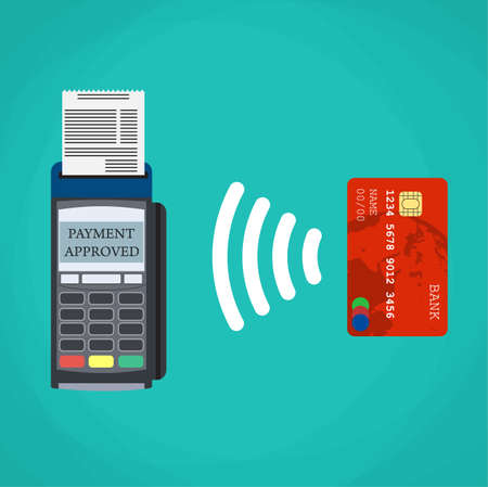 checkout line: Pos terminal confirms the payment by debit credit card. Vector illustration in flat design on green background. nfc payments concept Illustration