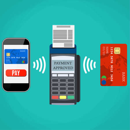 confirms: Pos terminal confirms the payment by smartphone and card. Vector illustration in flat design on blue background. nfc payments concept