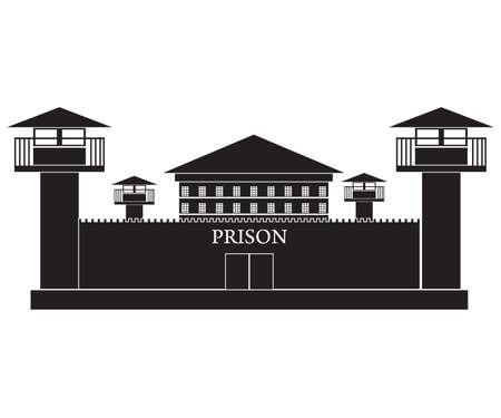cellule prison: silhouette illustration vectorielle de prison bâtiment isolé sur fond blanc