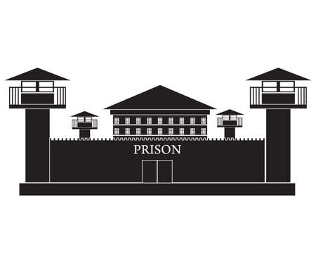 preso: silueta ilustración vectorial de la cárcel edificio aislado en el fondo blanco