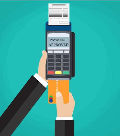 pousser la main carte de crédit à la borne de pos. en utilisant une carte de crédit de débit via le concept de terminal pos. illustration vectorielle dans la conception à plat sur fond vert Vecteurs