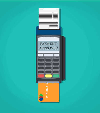 Modern vector illustration of POS payment terminal with credit card and printed reciept