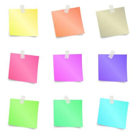 Sticky Notes - Zestaw kolorowych karteczek samodzielnie na białym tle. ilustracji wektorowych Ilustracje wektorowe