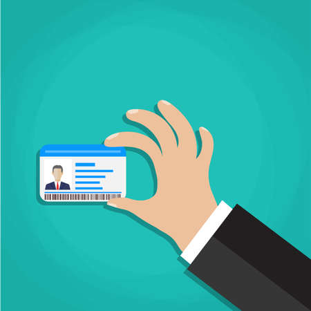 hand holding id card: Businessman Hand holding Id card. Illustration in flat style Illustration