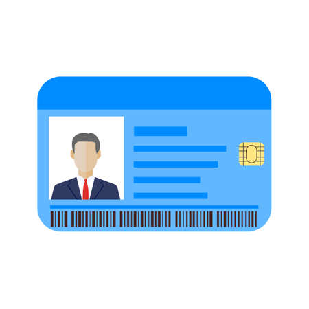 Id cards template with man. Vector illustration in flat style