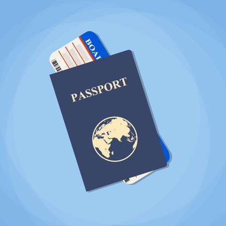 Ilustración vectorial pasaporte con billetes. Concepto de viajes aéreos. Diseño Flat