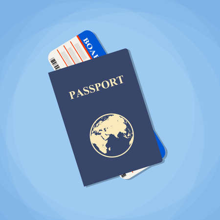 passport: Vector illustration passport with tickets. Air travel concept. Flat Design