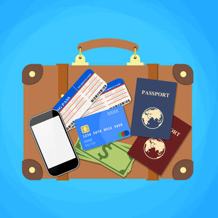 travel phone: Travel suitcase passport, credit card, phone and plane tickets. Air travel concept. Flat Design. vector illustration Illustration