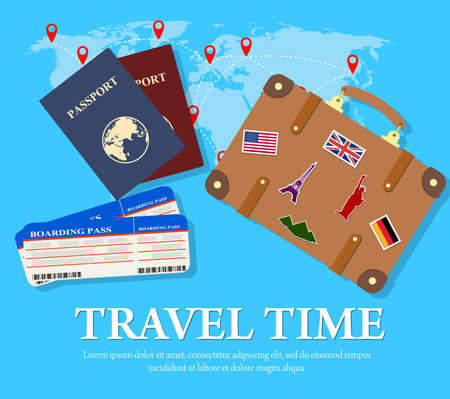 Travel and tourism concept. Air tickets, passports and travel suitcase with funky stickers and world map, tourism and planning, vector illustration. Travel Concept.